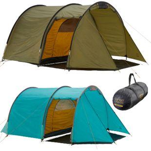 GRAND CANYON Tunelzelt Robson 4 Personen Zelt Familien Camping Leicht Vorraum Farbe: Blue Grass - Bild 1