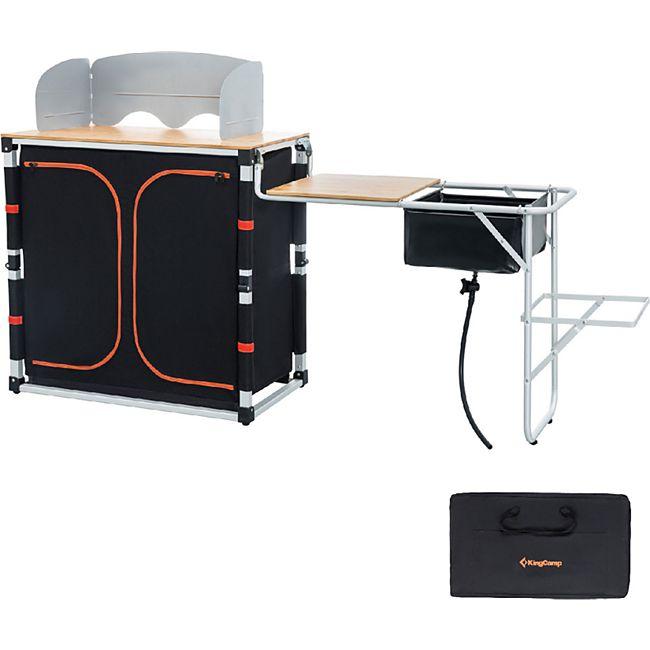 KINGCAMP Camping Küche XL Falt Schrank Grill Klapp Tisch Windschutz Bambus Holz - Bild 1