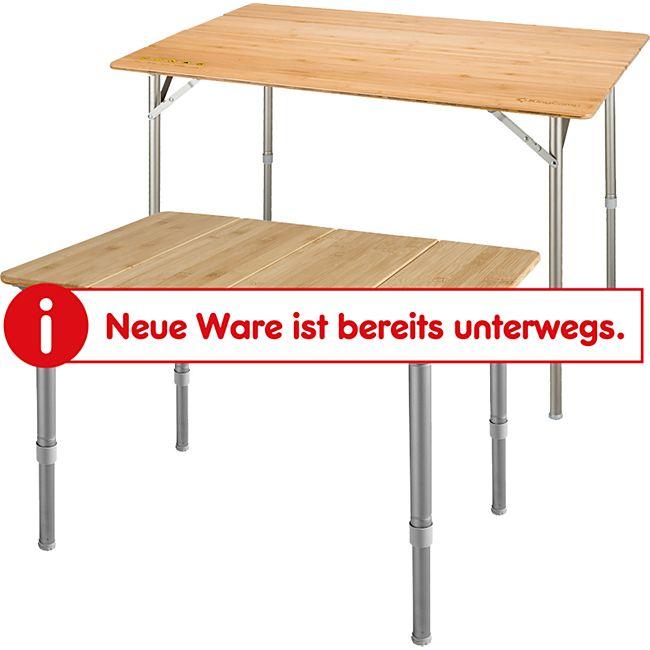 KINGCAMP Falt Tisch Camping Klapptisch Alu Bambus Holz Stufenlos Verstellbar Variante: L - Bild 1