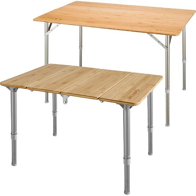 KINGCAMP Falt Tisch Camping Klapptisch Alu Bambus Holz Stufenlos Verstellbar Variante: S - Bild 1