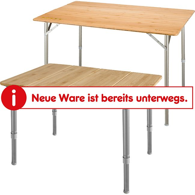 KINGCAMP Falt Tisch Camping Klapptisch Alu Bambus Holz Stufenlos Verstellbar Variante: XS - Bild 1