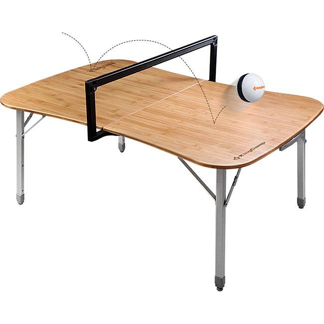 KINGCAMP Paeyball Spiel Tisch Camping Klapptisch Alu Bambus Holz Höhen Verstellbar - Bild 1