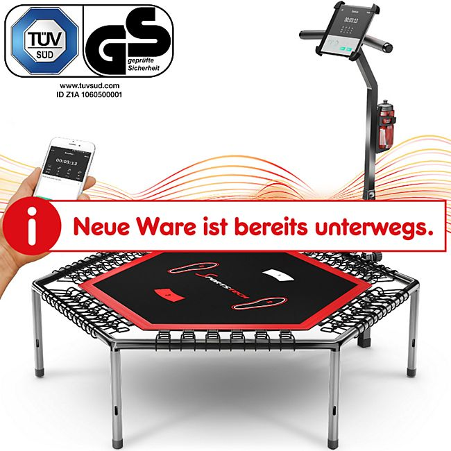 Sportstech Trampolin HTX100 Hexagonal, inkl. Pulsgurt, Trainings-Video - Bild 1
