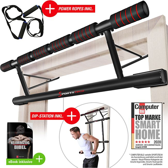 Sportstech 4in1 Klimmzugstange KS500 inkl Dip Bar & Power Ropes - Bild 1
