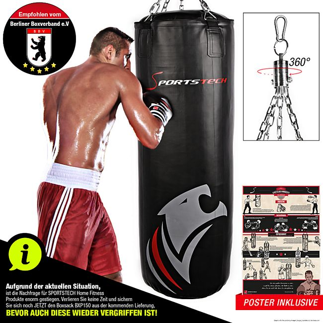 Sportstech Profi-Boxsack BXP150 150 cm mit Trainingsposter - Bild 1