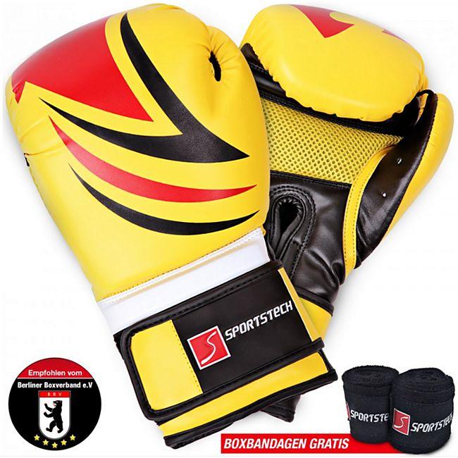 Sportstech Profi Boxhandschuhe BXG16 Kampfsport... Gelb - Bild 1
