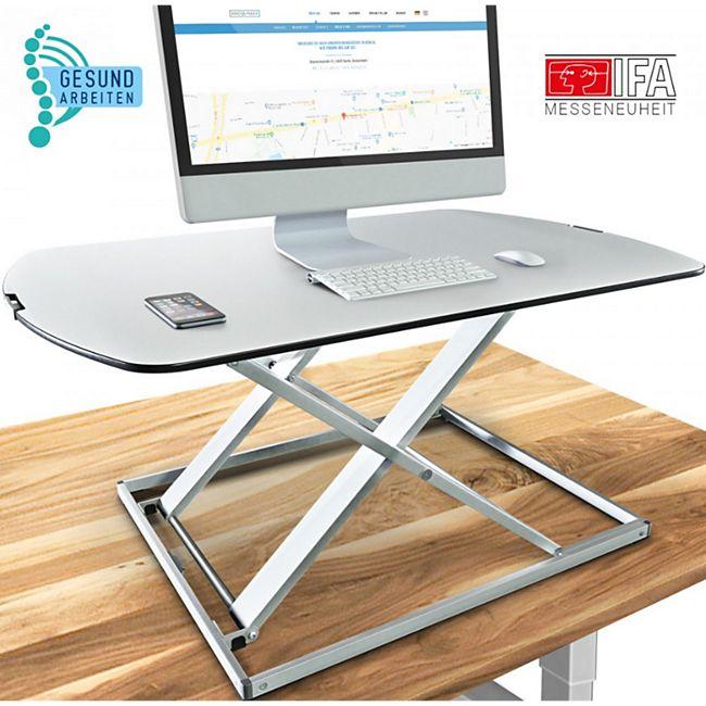 Deskfit 3in1 Schreibtisch-Aufsatz DF50 80cm höhenverstellbar... Weiß - Bild 1