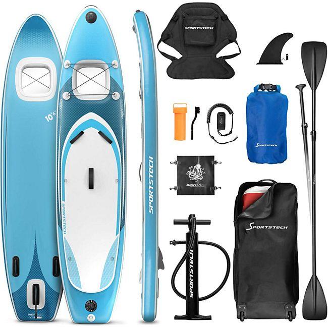 Sportstech Premium SUP-Board WBX mit 2in1 Sichtfenster Action-Cam... Aquamini-Blau, 320 cm - Bild 1