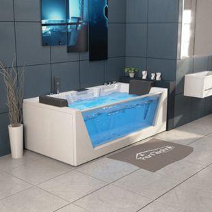 TroniTechnik Whirlpool Badewanne MYKONOS 180cm x 88cm mit Heizung, Wasserfall, Hydromassage und Farblichtherapie - Bild 1