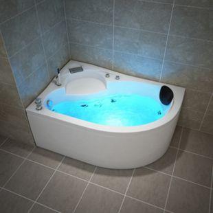 TroniTechnik Whirlpool Badewanne CAPRI RECHTS 150cm x 100cm mit Spülfunktion, Wasserfalleinlauf Hydromassage und Farblichtherapie - Bild 1