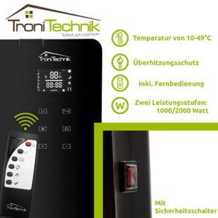 Tronitechnik TT-KH-062 Konvektionsheizgerät Heizung Glas mit 2000 Watt und LED Display - Bild 1
