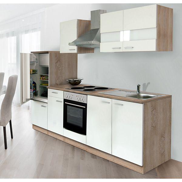 Respekta Küchenzeile LBKB270ESW 270 cm ohne Geräte Weiß-Eiche ...