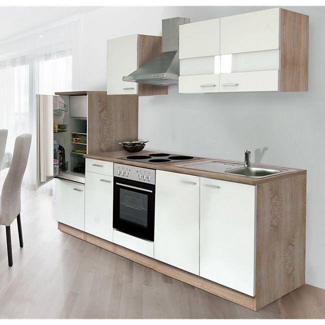 Respekta Küchenzeile LBKB270ESW 270 cm ohne Geräte Weiß-Eiche Sonoma ...