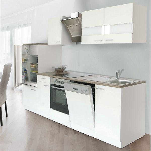 Respekta Küchenzeile LBKB280WW 280 cm ohne Geräte Weiß - Plus.de ...