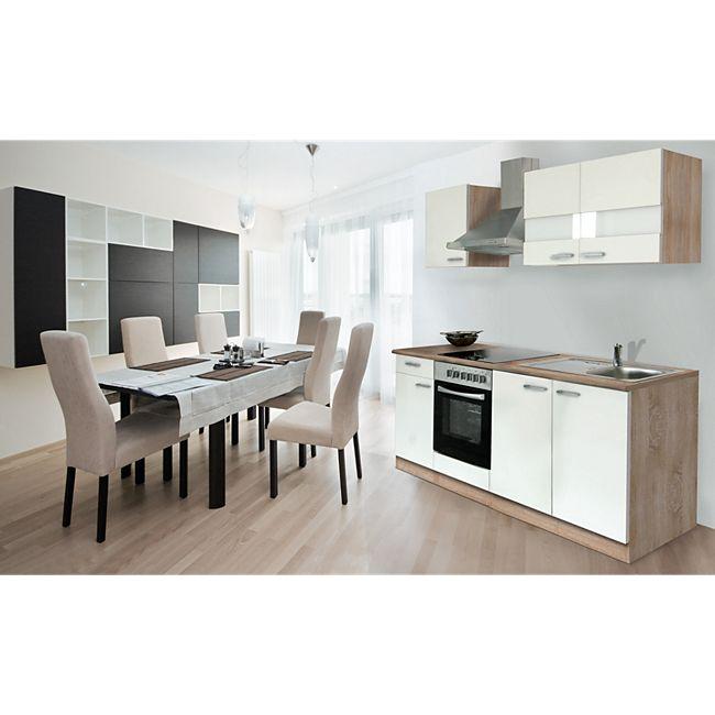 respekta k chenzeile kb210eswc 210 cm wei eiche s gerau nachbildung g nstig online kaufen. Black Bedroom Furniture Sets. Home Design Ideas