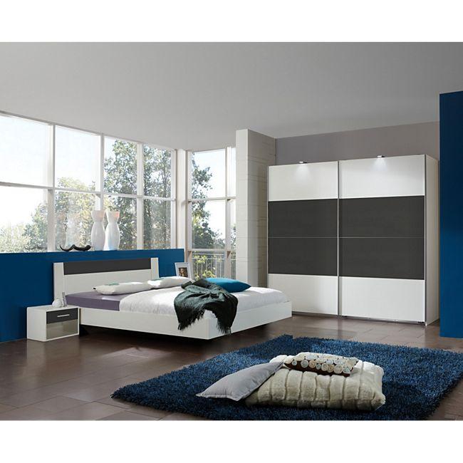 Schlafzimmer mit Bett 180 x 200 cm alpinweiss/ graphit Wimex Ilona ...