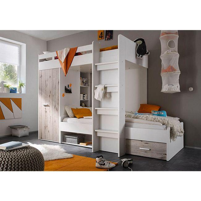 hochbett in weiss mit absetzungen in sandeiche polpower maxi g nstig online kaufen. Black Bedroom Furniture Sets. Home Design Ideas