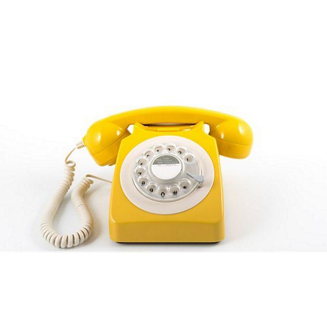 gpo telefon mit drehscheibe im klassischen 70er jahre design gelb g nstig online kaufen. Black Bedroom Furniture Sets. Home Design Ideas