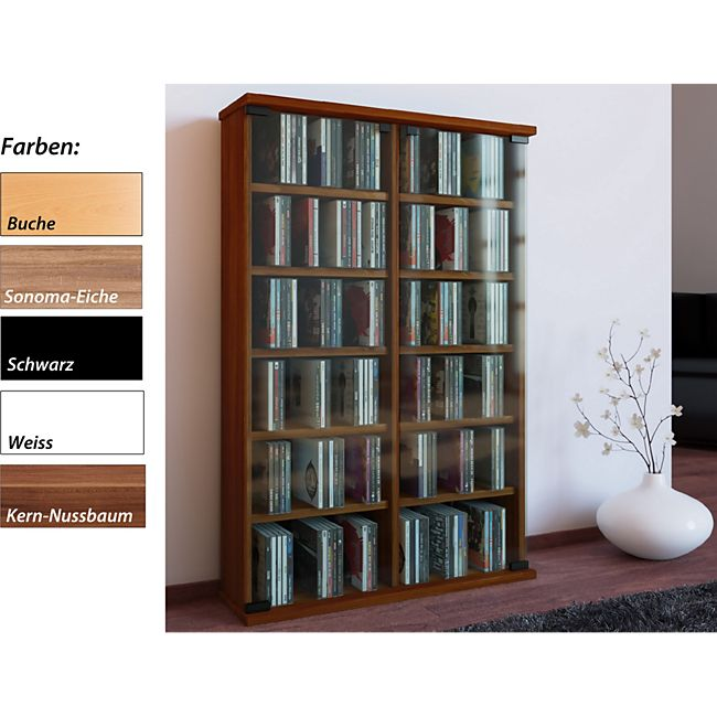 vcm regal dvd cd rack medienregal medienschrank aufbewahrung holzregal standregal m bel bluray. Black Bedroom Furniture Sets. Home Design Ideas