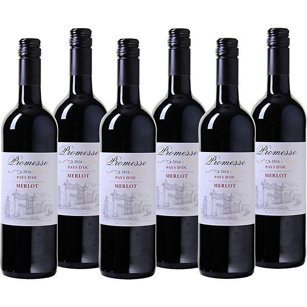 produkt 6 fl promesse merlot pays d oc rotwein frankreich sdwestfrankreich 2016 - Kchen Mit Weien Schrnken Und Dunklen Bden