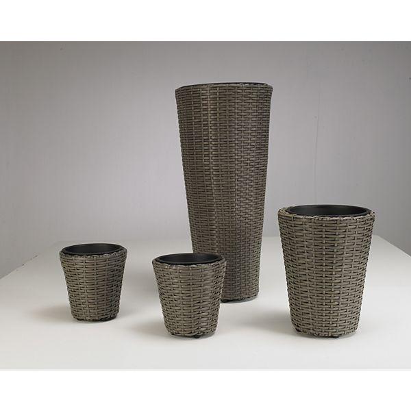 Artra Design Pflanzgefäße Übertöpfe 4er Set Polyrattan grau, rund ...