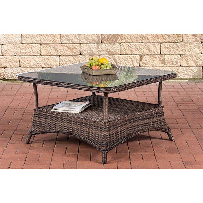 clp design outdoor lounge tisch pandora h he 60 cm glas tischplatte 5 mm rattan geflecht alu. Black Bedroom Furniture Sets. Home Design Ideas