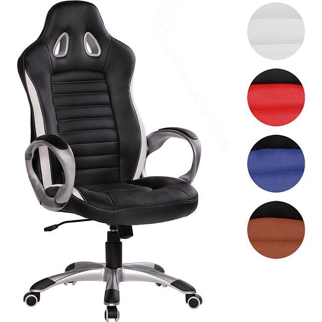 amstyle b rostuhl racer leder optik schwarz schreibtischstuhl chefsessel drehstuhl sport racing. Black Bedroom Furniture Sets. Home Design Ideas