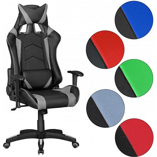 amstyle b rostuhl score leder optik schwarz blau schreibtischstuhl chefsessel gaming chair. Black Bedroom Furniture Sets. Home Design Ideas