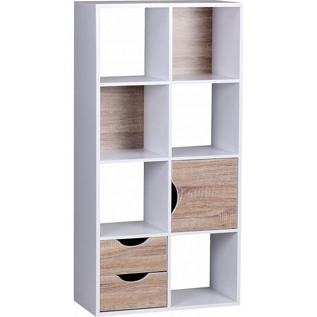 wohnling b cherregal 60 x 120 x 29 cm wei sonoma eiche mit schubladen und t r g nstig online. Black Bedroom Furniture Sets. Home Design Ideas