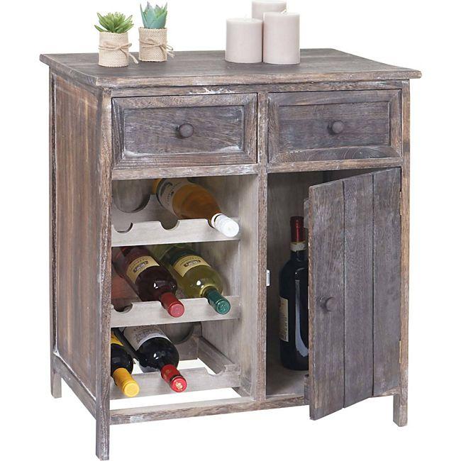 heute wohnen weinregal ithaka flaschenregal kommode regal f r 9 flaschen shabby look vintage. Black Bedroom Furniture Sets. Home Design Ideas