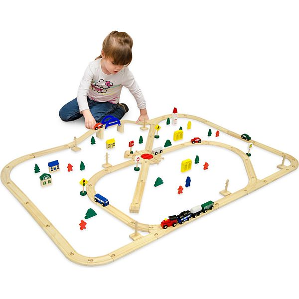 Holzeisenbahn Set 96 Teile Spielzeugeisenbahn inkl. Zubehör Natur Holz Eisenbahn-Set 6 Meter