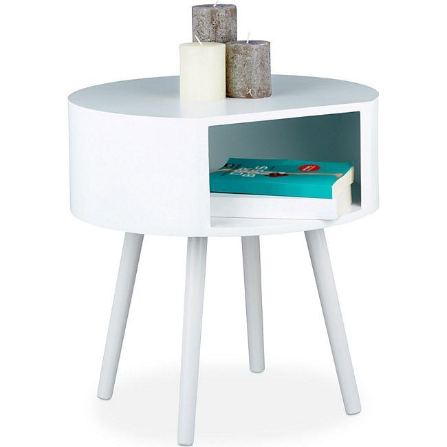 relaxdays beistelltisch rund mit ffnung g nstig online kaufen. Black Bedroom Furniture Sets. Home Design Ideas