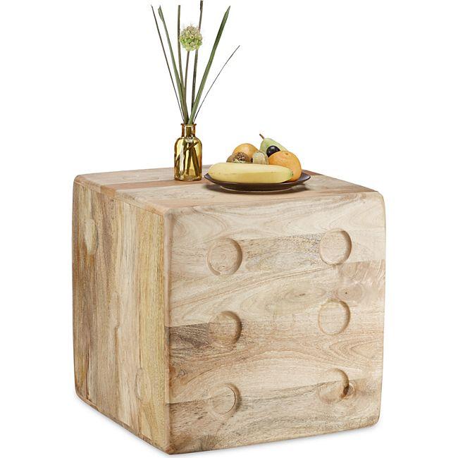 relaxdays beistelltisch w rfel aus mangoholz g nstig online kaufen. Black Bedroom Furniture Sets. Home Design Ideas
