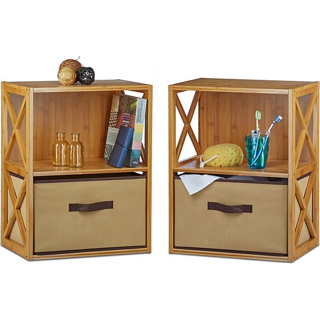 relaxdays 2x regal bambus mit korb zum falten 2 ablagen standregal k chenregal korbregal g nstig. Black Bedroom Furniture Sets. Home Design Ideas