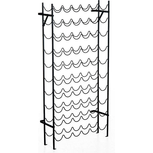 homcom weinregal flaschenregal f r 60 flaschen metall schwarz weinst nder st nder f r. Black Bedroom Furniture Sets. Home Design Ideas