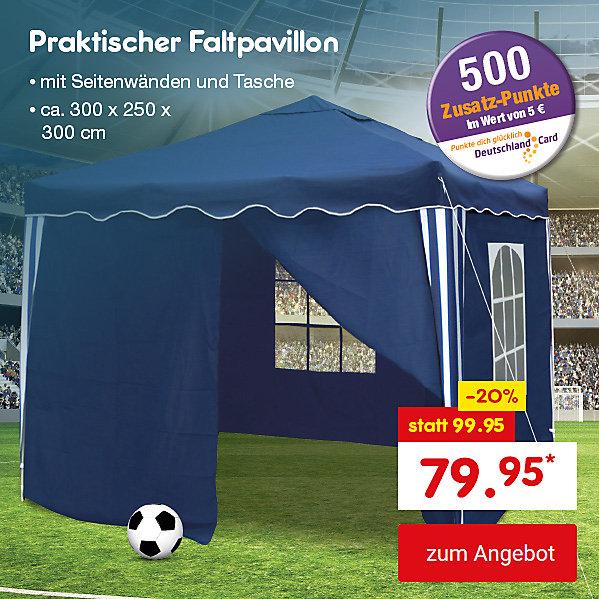 Unser Angebot zur WM: Praktischer Faltpavillon, für nur 79.95 €*, inkl. 500 DeutschlandCard Zusatz-Punkten