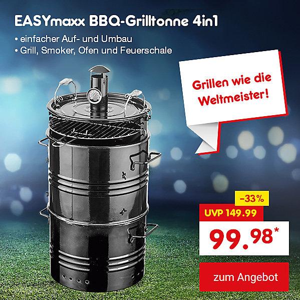 Unser Angebot zur WM: EASYmaxx BBQ-Grilltonne 4in1, für nur 99.98 €*